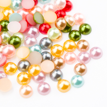 High Light Colorful AB Smooth Faceted Semi-circle Round Half Loose Pearls for DIY Decoration Making