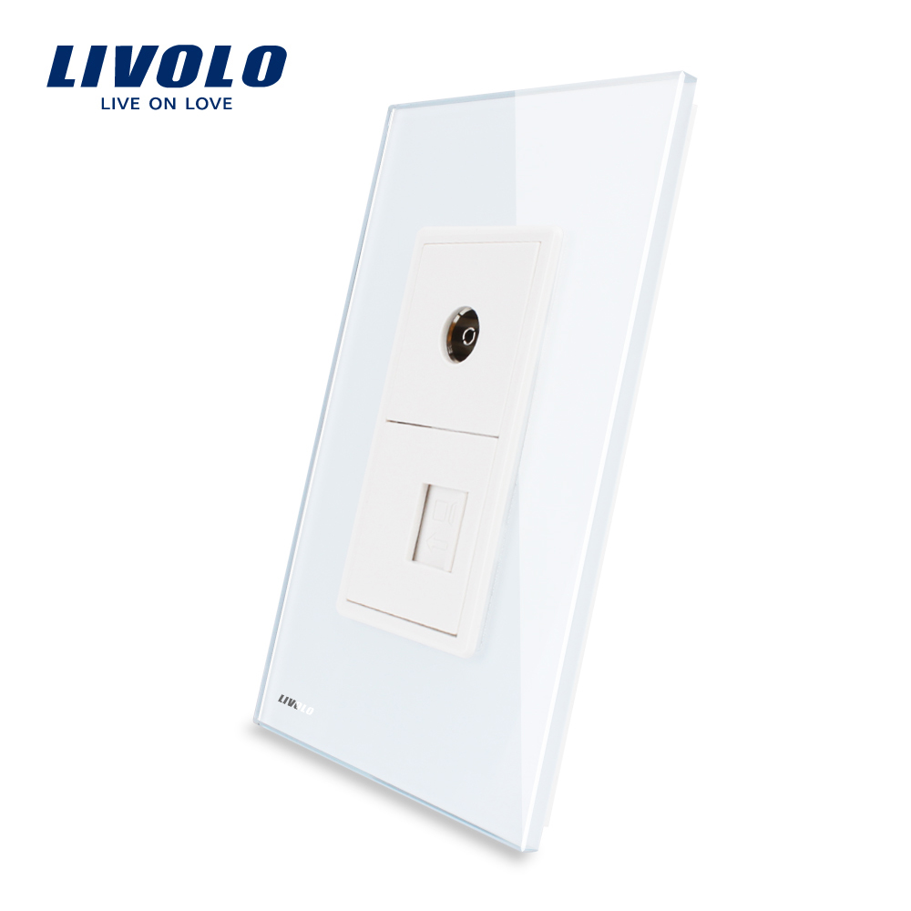 Livolo US TV and Computer RJ 45 Socket With White Pearl Crystal Glass <strong>Internet</strong> electrical wall socket VL-C591VC-<strong>11</strong>