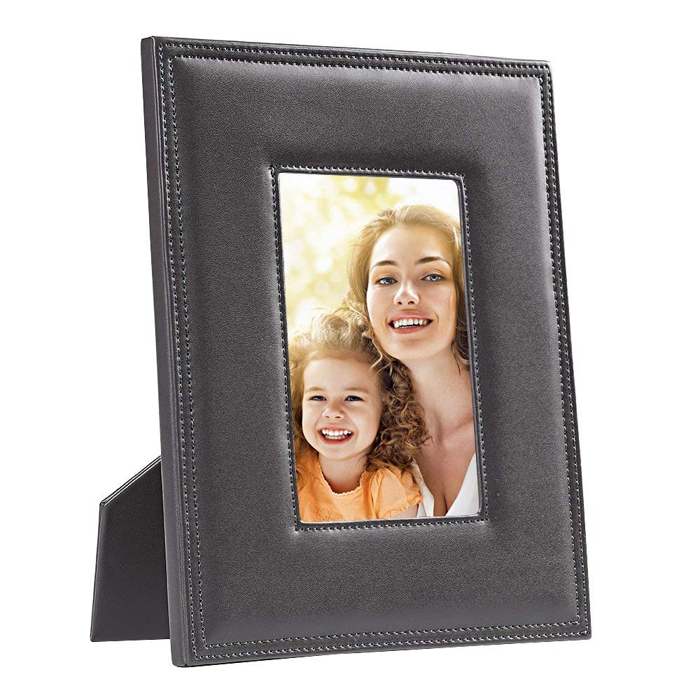 Tarshim 5x7 Picture Frames,Muti Color Leather Photo Frame Glass Front Made to Display 5x7 inch Picture Tabletop/Desktop Vertical and Horizontal Included (Gray)