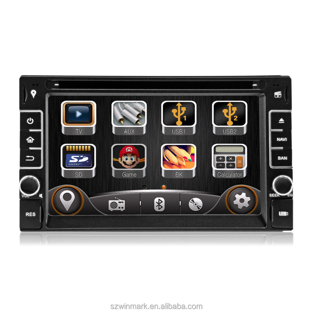 "DK6533 6.2"" two din in-dash HD digital monitor car dvd player car radio with GPS external <strong>TV</strong> etc.features for universal cars"
