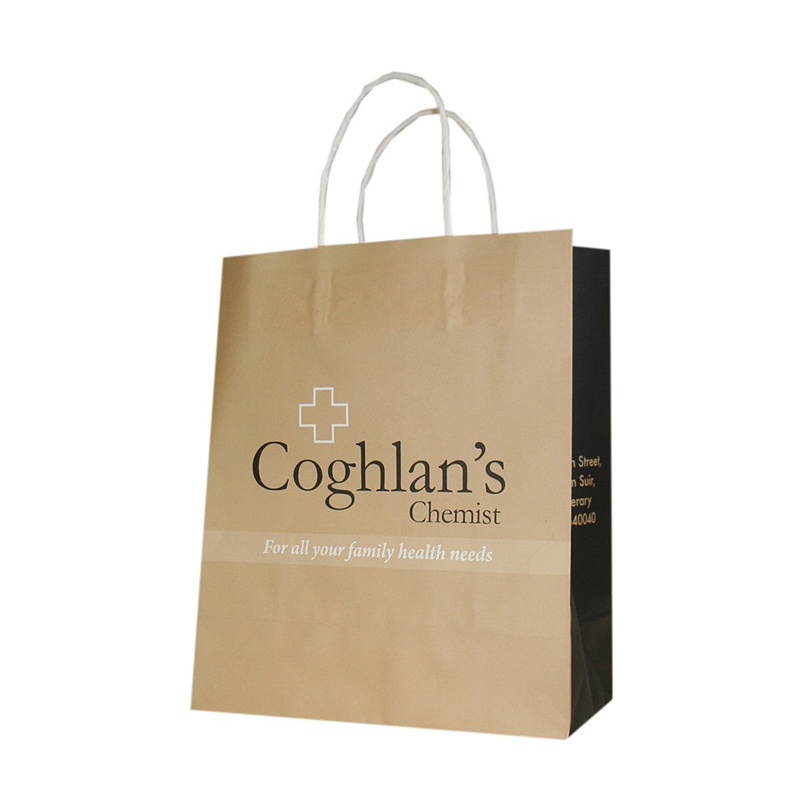 Home Collection Custom Logo Print OEM Brown Kraft Paper Bag
