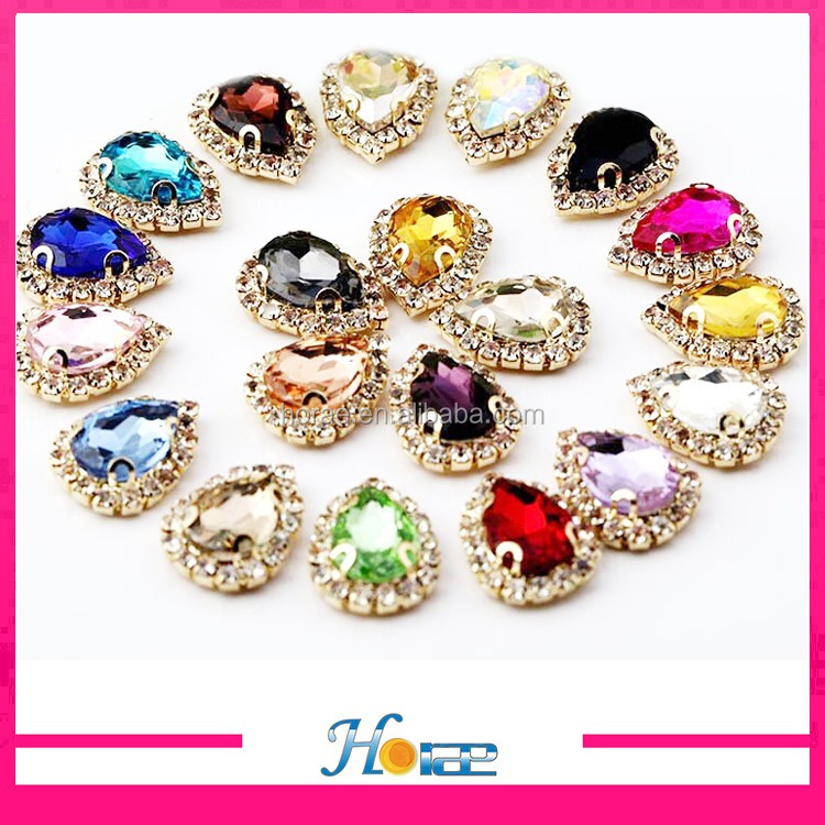new arrival tearshape sew on rhinestone glass button for decoration