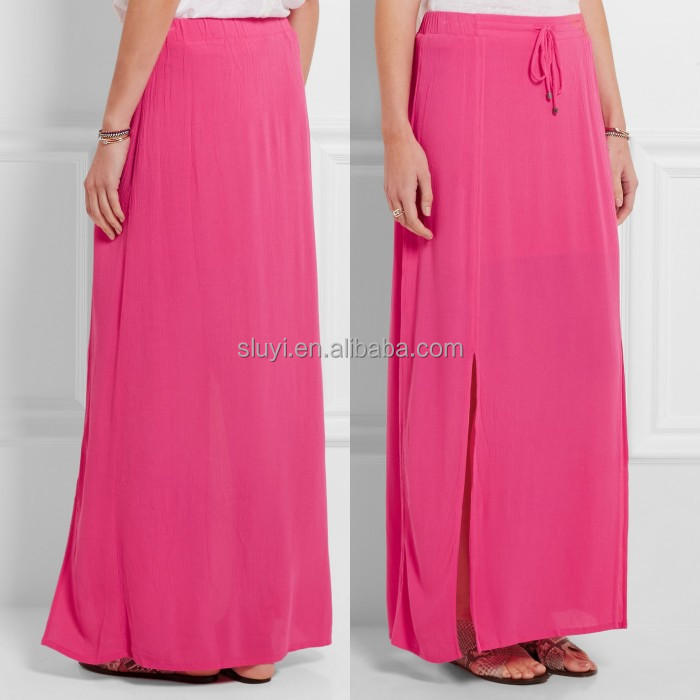ladies indian casual long skirt Crinkled-gauze comfortable elasticated drawstring waistband maxi skirt