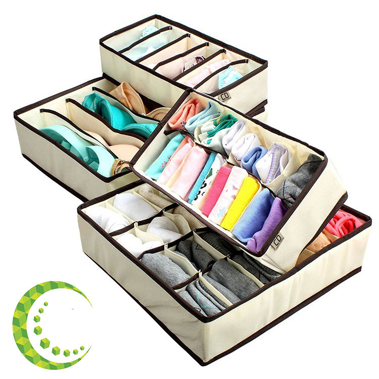Underwear Drawer Closet Organizer Collapsible Beige Fabric Foldable Storage Boxes Draw Organizers Divider for Panties Bra Sock