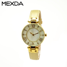Vintage small case slim gold genuine leather watch waterproof ladies fashion watches latest