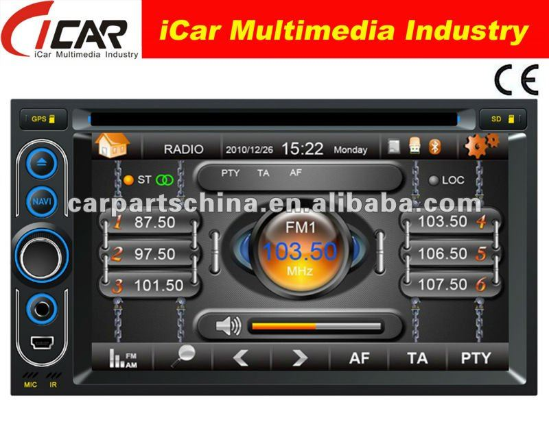 (iCar-6218)HOT Double Din 6.2'' touch screen,GPS,Bluetooth,TV,IPod in dash car dvd player