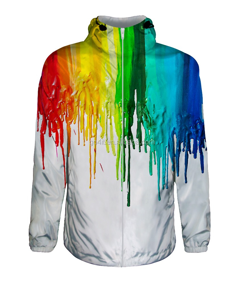 wholesale men's white windbreaker printing with oil paint pattern