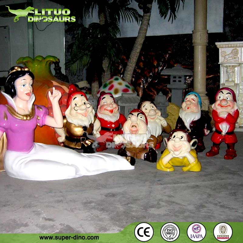 Life Size Fiberlgass Statue of Snow White and The Seven Dwarfs