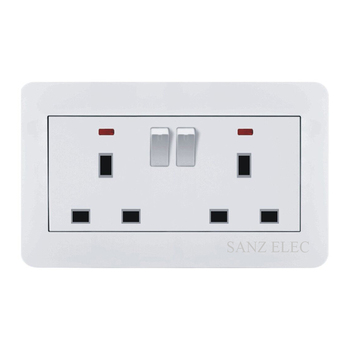 2 Way British Bs Uk Standard Wall Socket With Two Indicator And Two