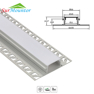 Architectural Gypsum Ceiling Wall Alu Led Channel Light Tile Trim Profile For Led Strip,Wing Recessed Aluminium Led Profile
