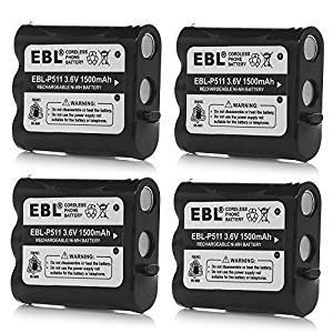 Pack of 4 EBL Rechargeable Cordless Phone Battery for Panasonic P-P511 ER-P511 HHR-P402