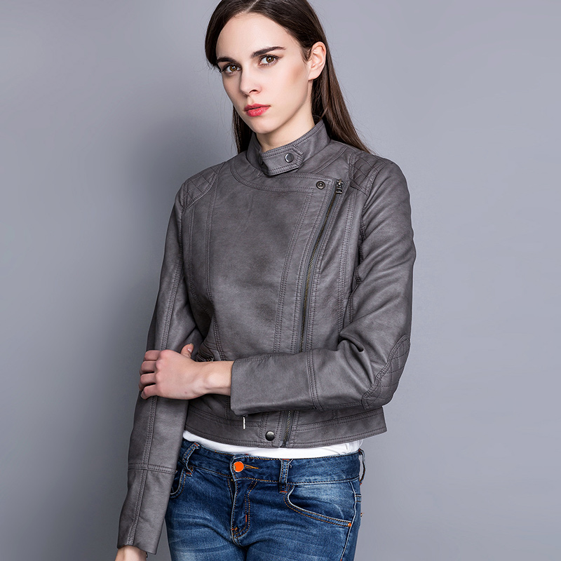 Ladies banded collar slant zipper quilted pu leather jacket фото