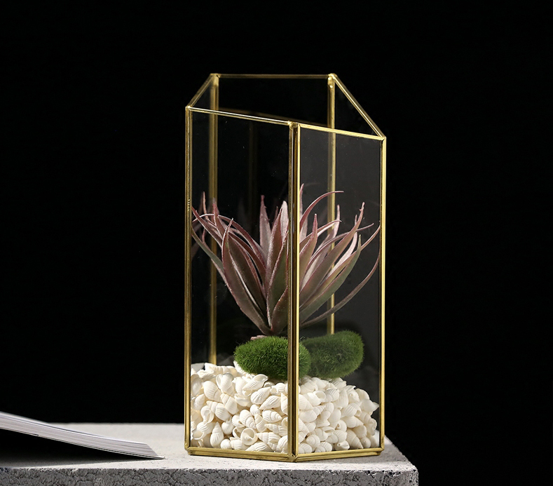 Decorative Tabletop Hanging Planter Air Plant Terrarium Geometric Glass