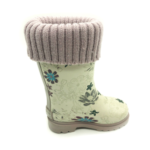 China products children warm winter rainboots flower cute cheap kids rain boots wholesale
