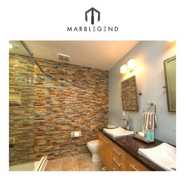 Exceptional Interior Golden Slate Wall Tile Cheap Price Stacked Stone Veneer For Sale