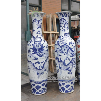Tall Blue White Porcelain Oriental Dragon Vases With Hand Carved