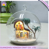 Factory direct supply DIY glass ball miniature wood dollhouse plans
