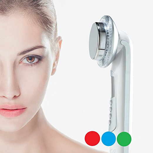 LED facial massager. 3 color Photo LED light therapy Facial Massager, Light Therapy Device for Acne, Vibration Skin Firming Care
