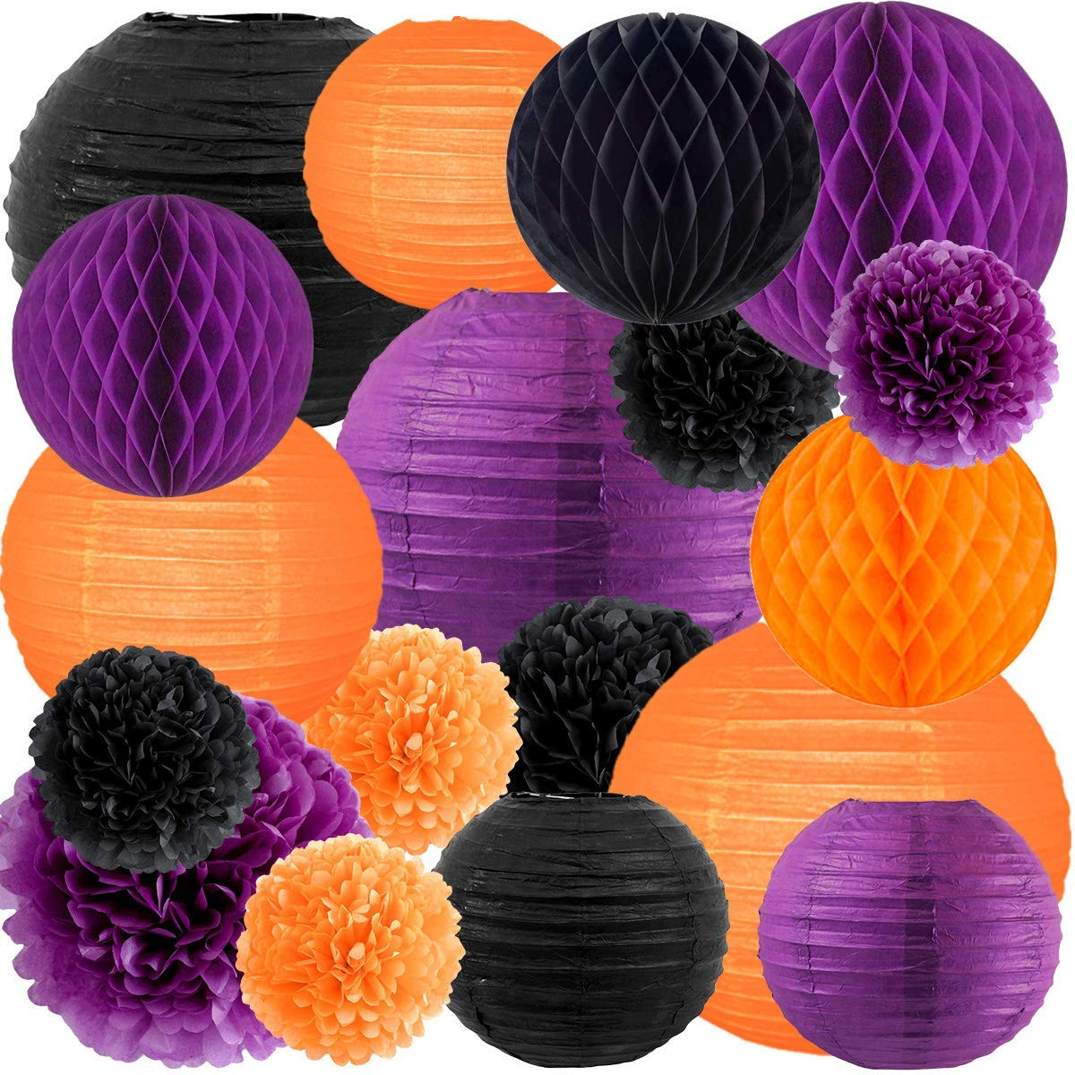 NICROLANDEE Happy Halloween Orange Purple and Black Party Decorations Pack Tissue Paper Pom Poms Ball Hanging Round Paper Lanterns for Home Fall Harvest Thanksgiving Wedding Background Decor
