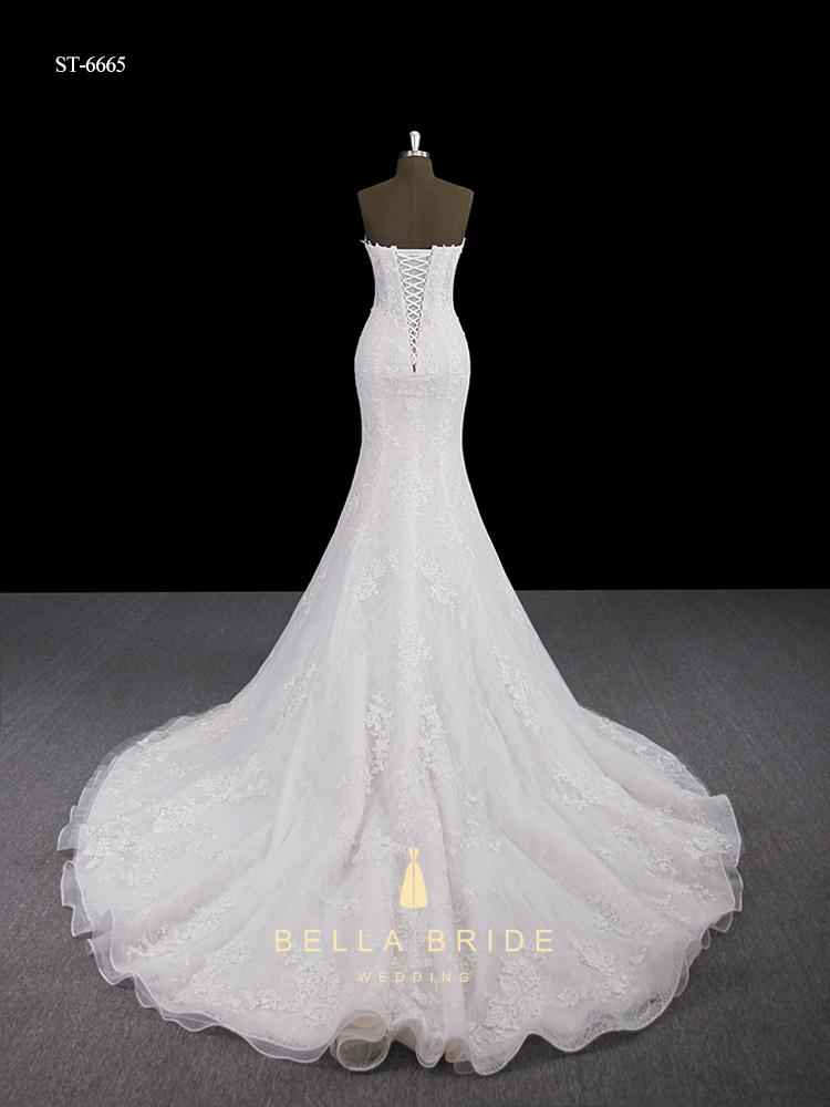 c1c3ed23c Desmontable falda de encaje vestido de novia corte sirena cola larga vestido  de boda del corsé