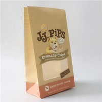 Block bottom kraft Paper pouch bags with window for Doggie snack packaging