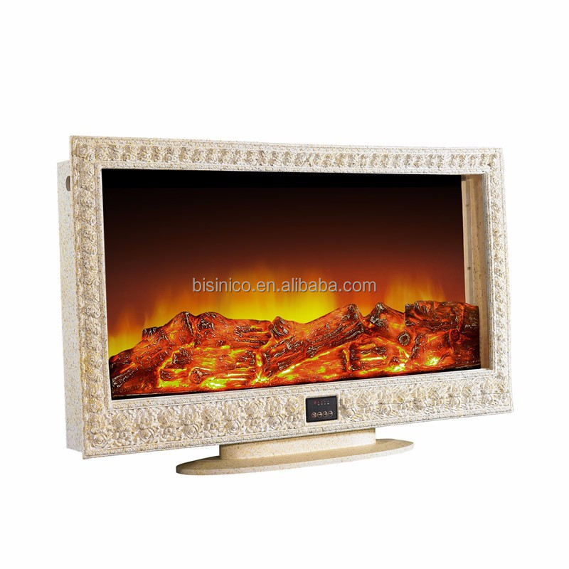 Bisini Luxury Furniture, Indoor Decorative Fireplace Electric Heater, Elegant Carving TV Stand Design Space Heater