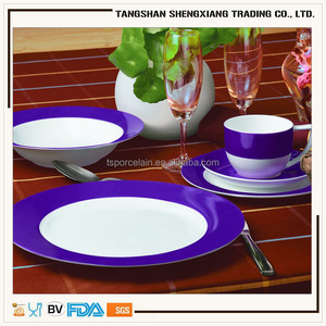2017 new design dinner set color glazed dinner set purple stoneware dinnerware