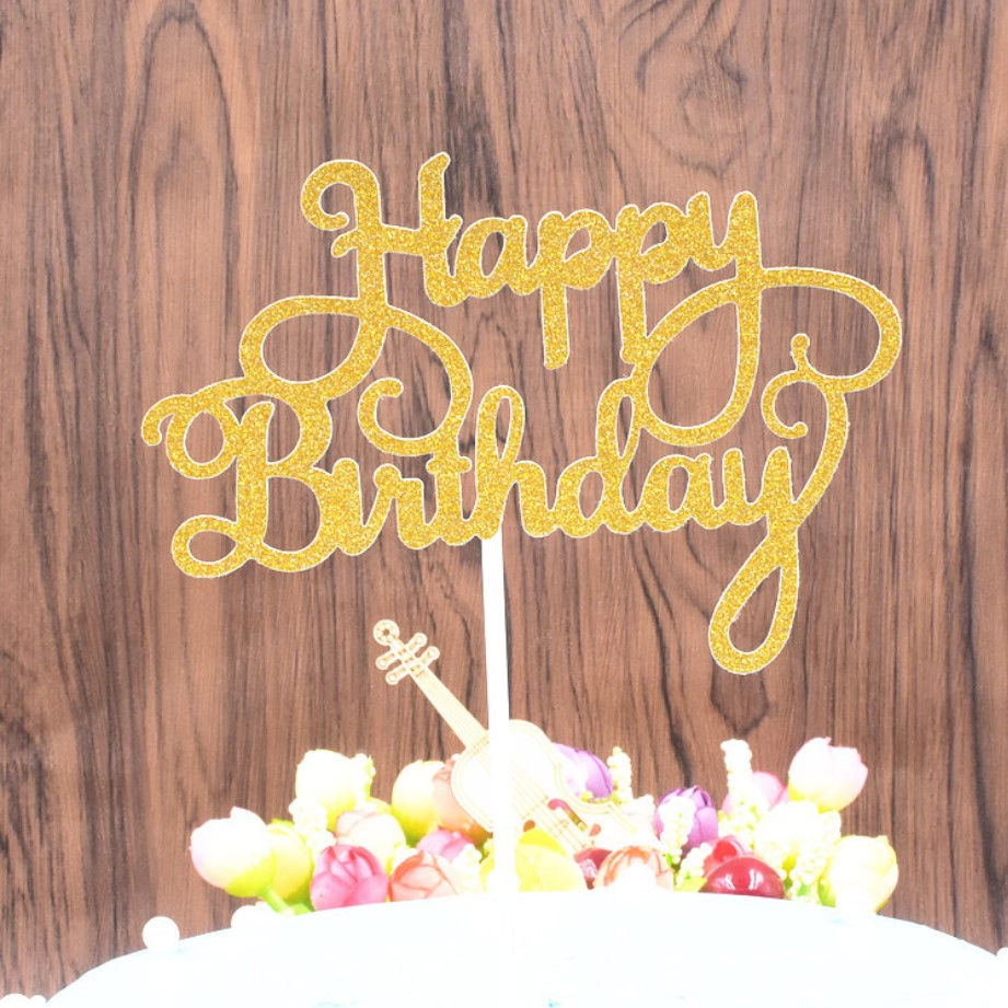 Amazon hot sale Meilun Silver Happy Birthday <strong>Cake</strong> Topper For Birthday <strong>Cake</strong> Decoration