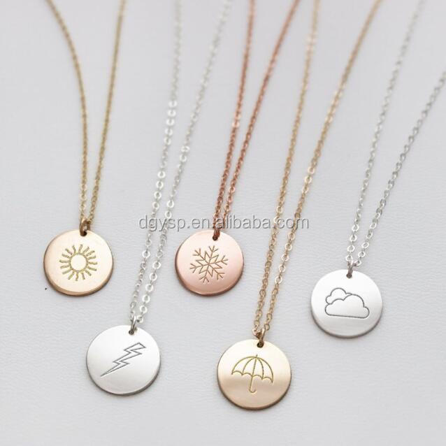 Inspire Jewelry  2019 Latest Birthday Gift 12 Month flowers disc pendant necklace customized rose gold plated rose necklace