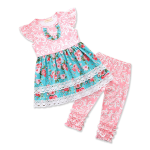 New Fashion Girls Boutique Outfits Sets Cute Kids Summer Remake Clothes Pink Floral Dress Ruffle Pants Baby Girl Clothing Sets