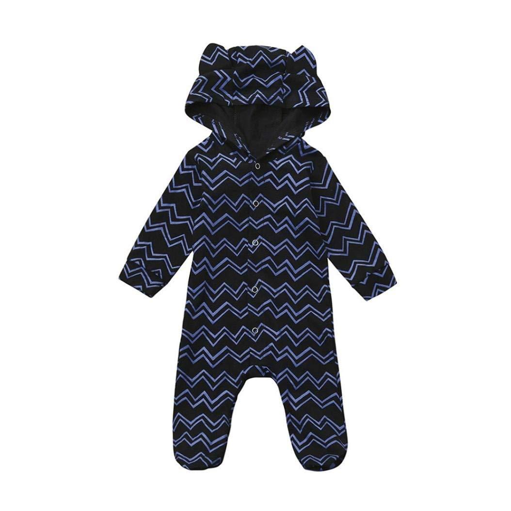 Baby Boys Girls Cotton Blend Hooded Stripe Romper Footed Jumpsuit, Cute Cartoon - Fheaven (18M, Blue)