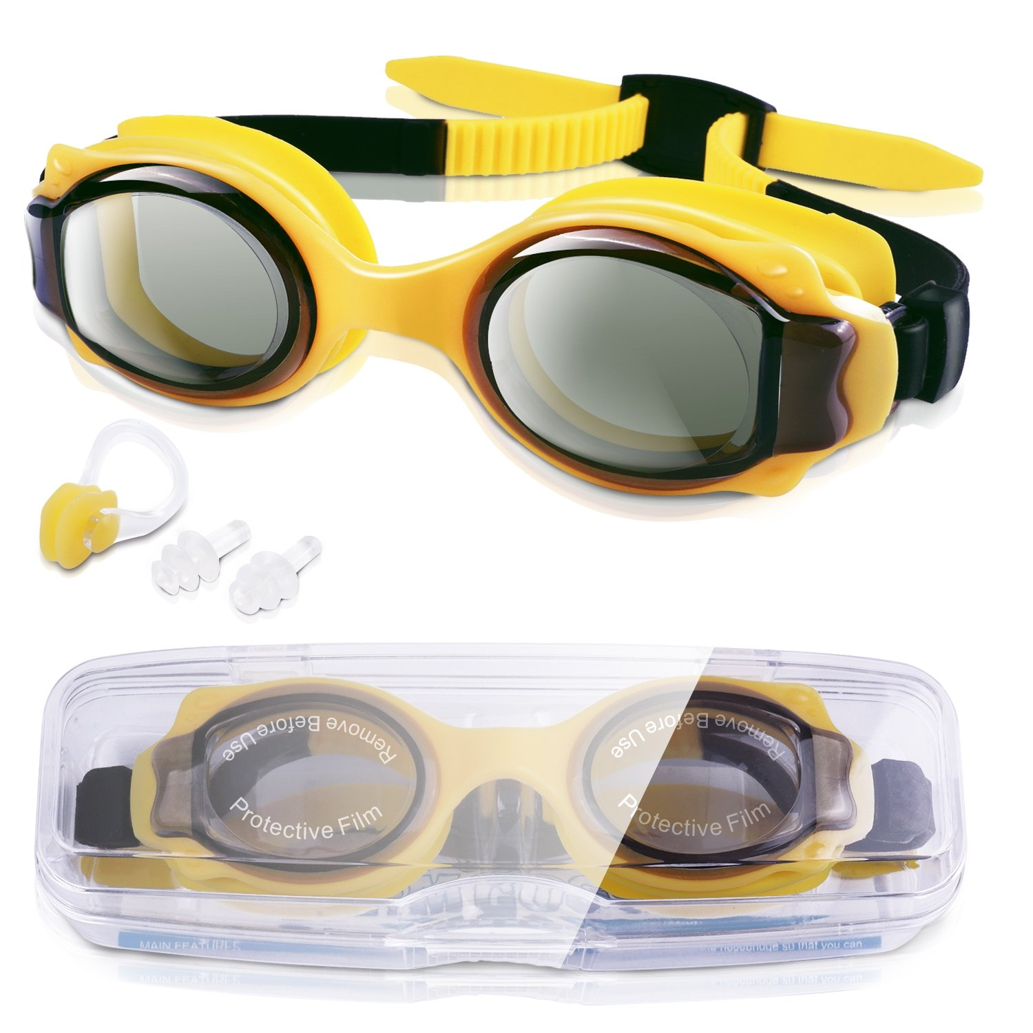 GKCI Kids Swimming Goggles, Waterproof Swim Goggles Swimming Glasses With Clear Vision for Children and Early Teens (Age 4-12), Anti-Fog Lenses, Waterproof, UV Protection, No Leak And Strap