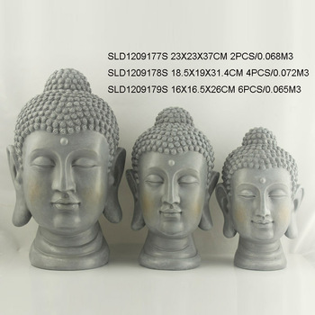 3/s cement finish buddha head garden ornaments
