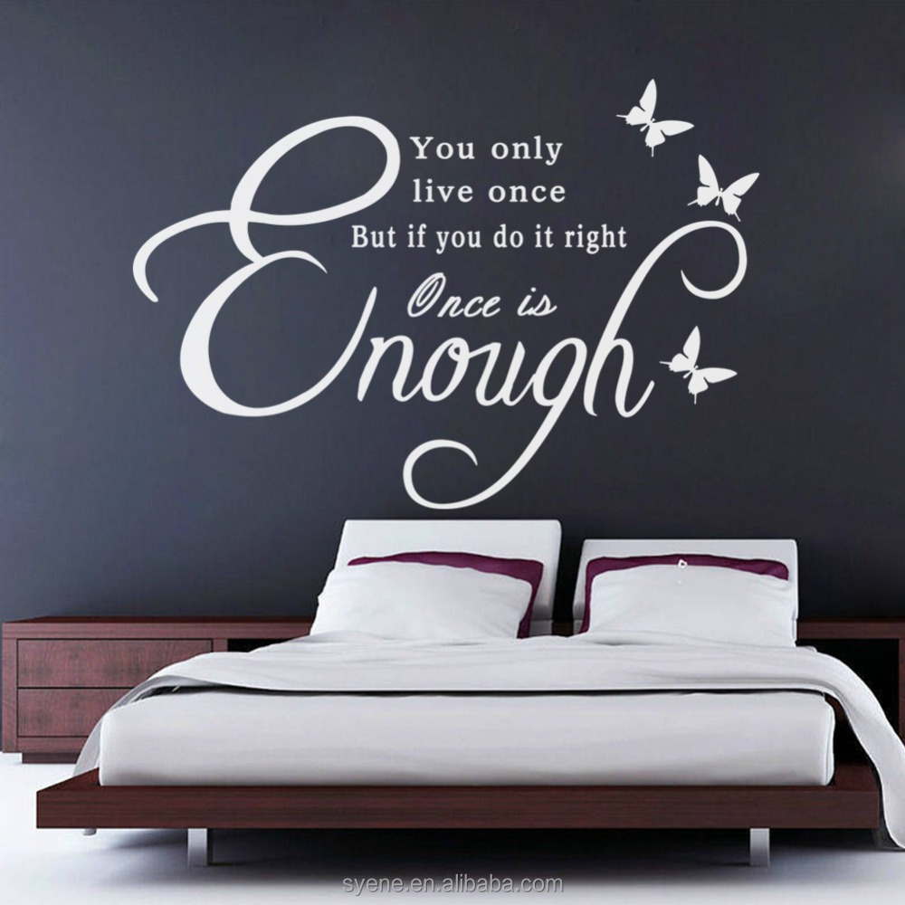 Wall Decor Stickers Bedroom Wall Stickers 3d Art Vinyl Quotes You Only Live  Once Inspirational Wall Decor Butterfly Decals Mural - Buy Wall Decor ...