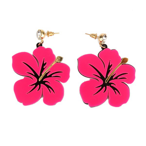 New Arrival Acetate Dangle Earrings Fashion Statement Exquisite Big Flower Shaped Acrylic Pendant Earrings With Rhinestone Stud