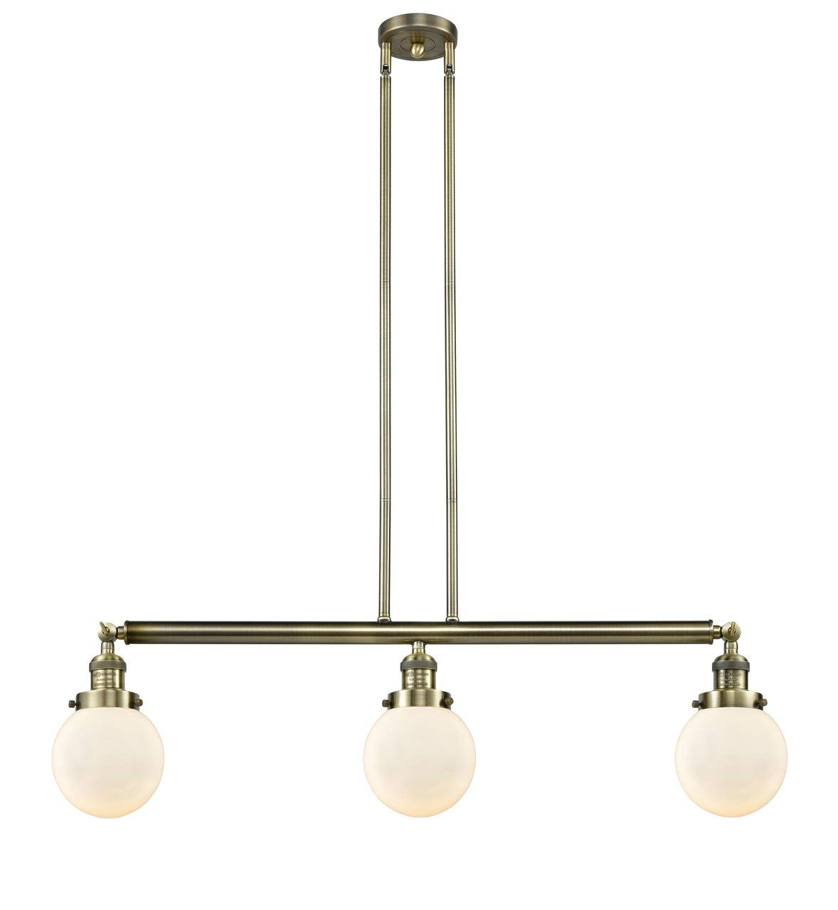 INNOVATIONS LIGHTING 213-AB-S-G201-6-LED 3 Light Vintage Dimmable LED Beacon 38 inch Island Light