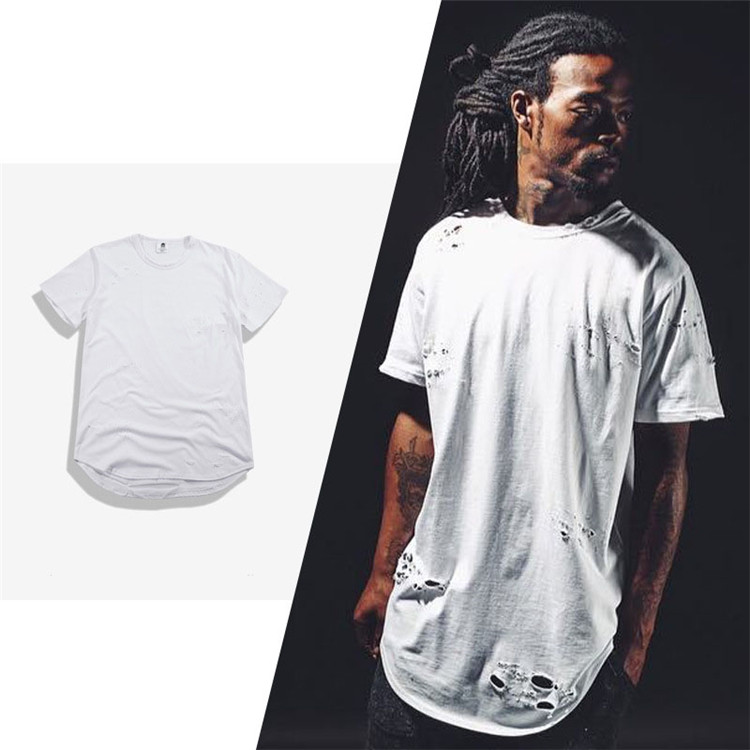 Alibaba.com / Men stylish curved hem t shirt wholesale crew neck plain streetwear t shirt with holes