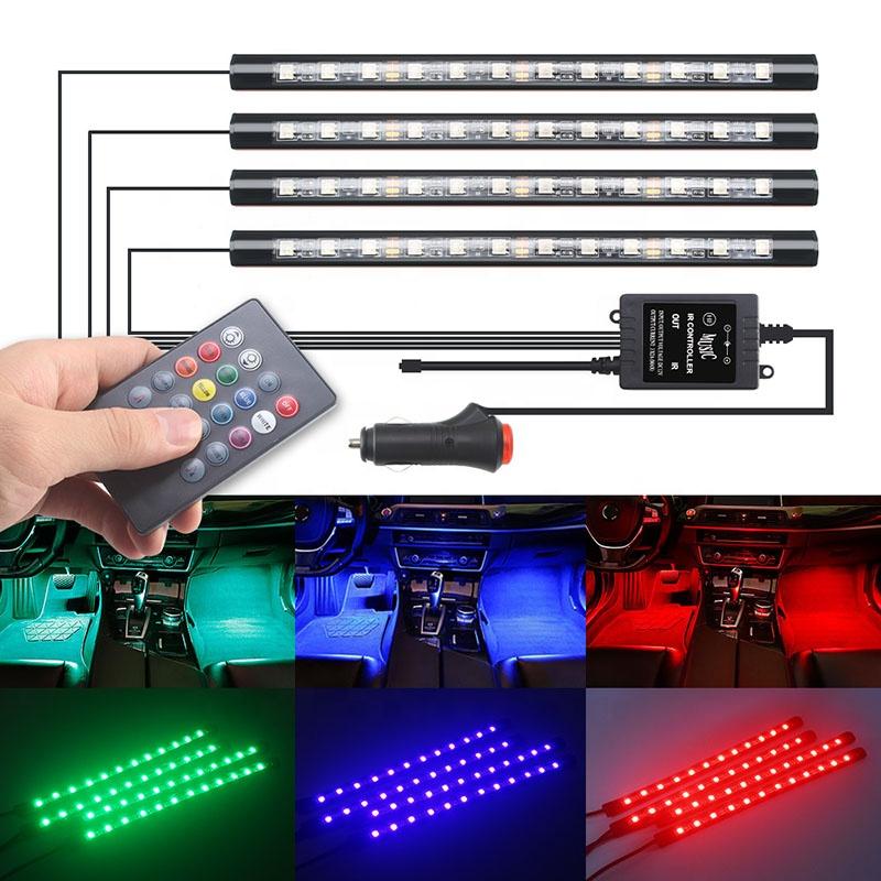Car LED Strip Light  4pcs 48 LED DC 12V RF Remote Control  Interior Light LED Under Dash Lighting Kit with Sound Active Function