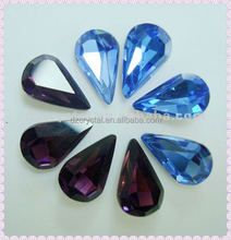 high quality montana jewelry crystal teardrop faceted pointback crystal beads for garment accessories,jewelry