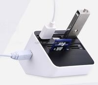 Multi 7 In 1 USB 2.0 Card Reader 3 USB SD MS M2 TF External Adaptor Combo High Speed and High Quality 90cm Cable