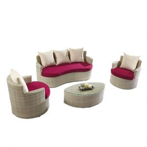 Hot Selling Round Rattan Sofa Set 7Pcs Patio Modern Furniture Bed
