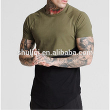 crew hem men two tone plain t-shirts 95%coton 5%polyester curved hem longline t shirt in bulk
