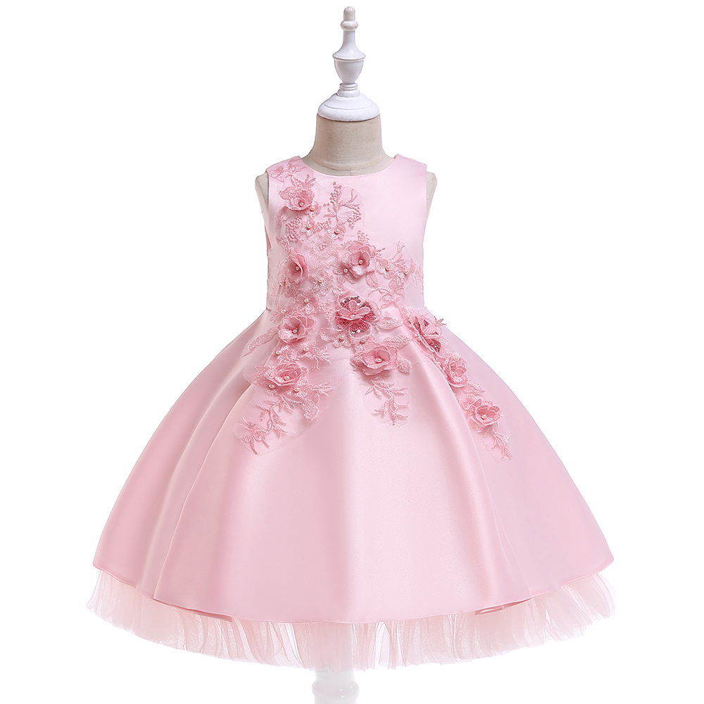 High Quality Children Girls Clothing Latest Fashion Sleeveless Embroidered Kids Puffy Party Dresses L5056 фото