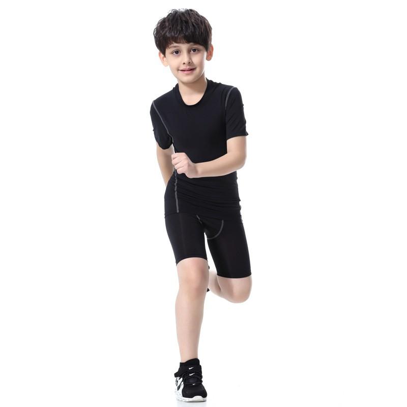 2018 Colorful Sportswear Boys' Compression Shirt Shorts Pants Sportswear Set Kids 11