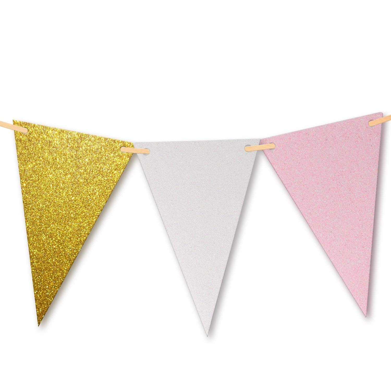 10 Feet Amazing Gold Glitter, Pink & White Triangle Flags Pennant Bunting Banner Paper Triangle Flag Wedding Bridal Shower Nursery Banner Special Occasion Birthday Party Banner 15 Flags - 1 Pack