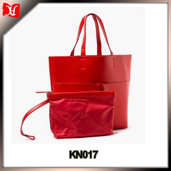 Double Pocket Red leather Tote bag women