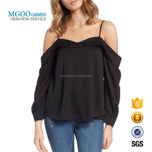 Women Fashion Plain Black Blouse Fashion Satin Off The Shoulder Top Lady Blouse & Top