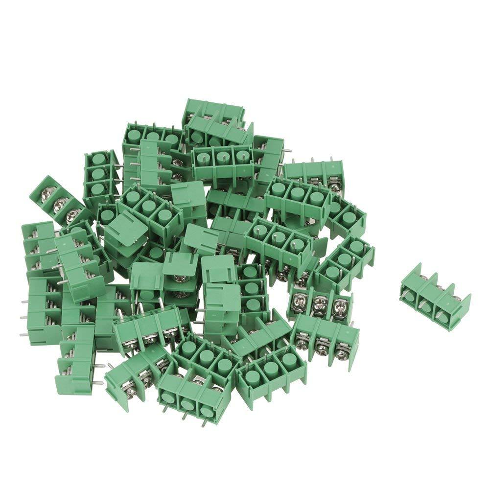 50pcs Terminal Blocks,3-Pin 7.62mm Spacing PCB Universal Screw Terminal Blocks Connectors