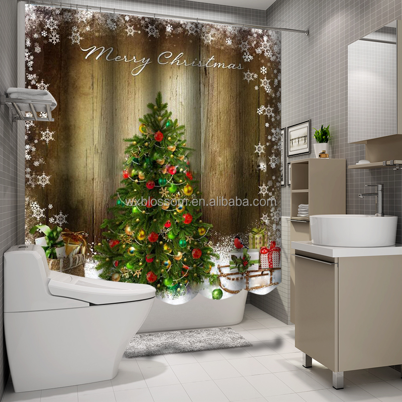 Kerst ontwerp digitale gedrukt 3d douchegordijn decoratie douchegordijnen product id 60538418299 - Ontwerp tuin decoratie ...