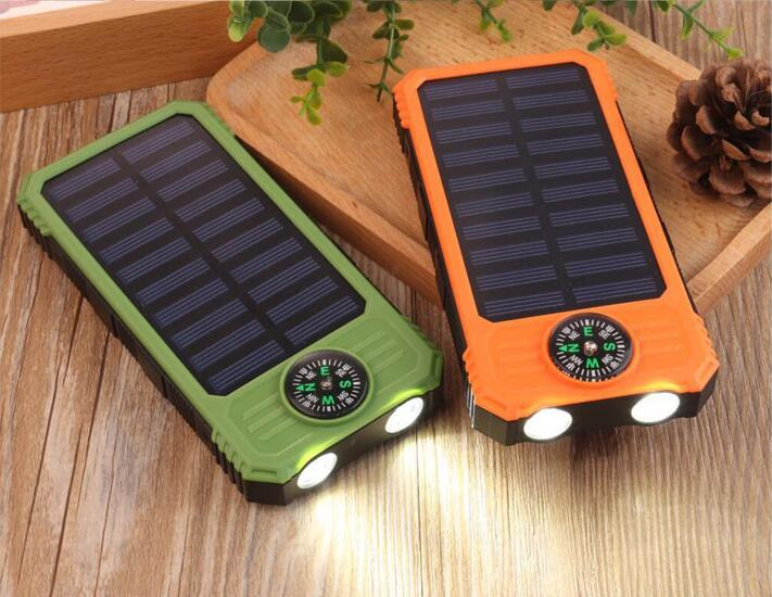 OEM Solar Power bank 10000mAh solar charger External Battery With LED Lamp and Compass Portable Charger 5V 2.1A